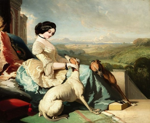 A Lady Sitting with Two Greyhounds Alfred de Dreux